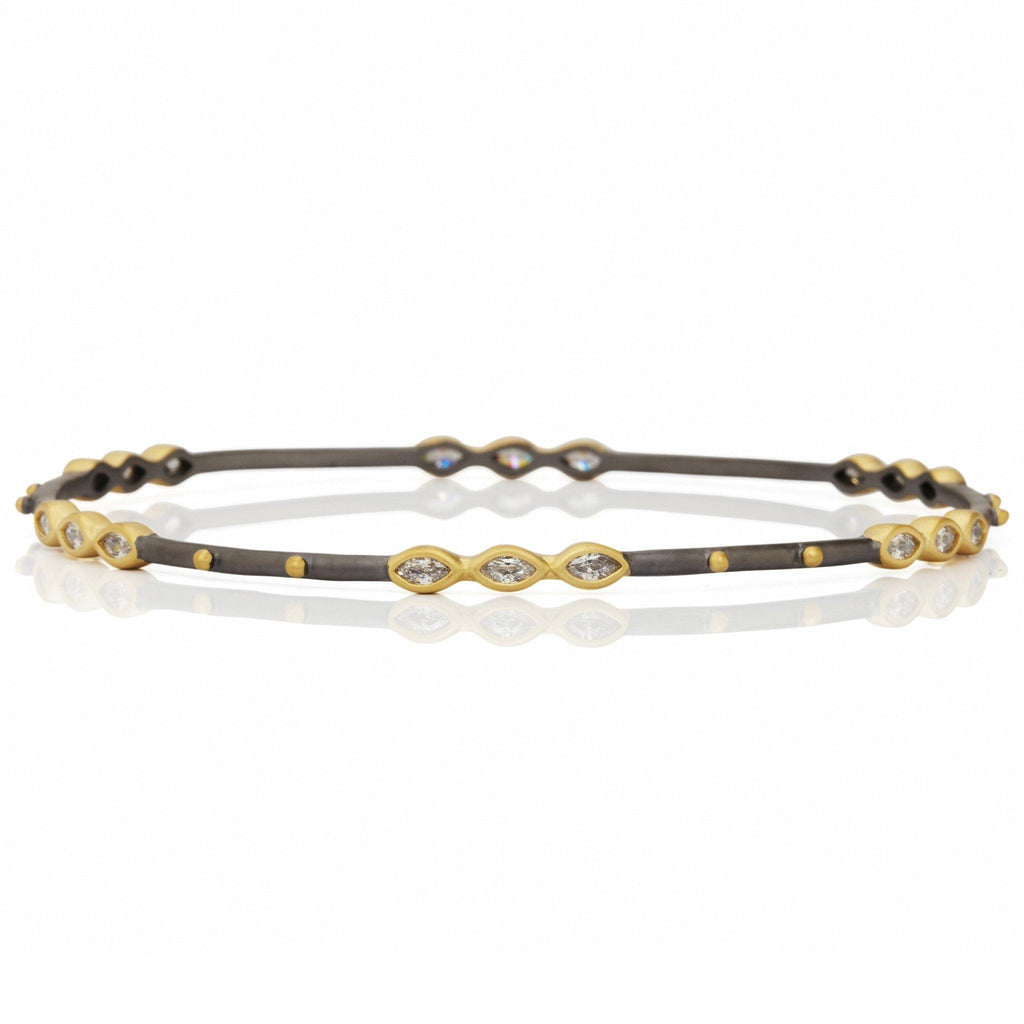 BANGLE - Marquise Beaded Station Bangle