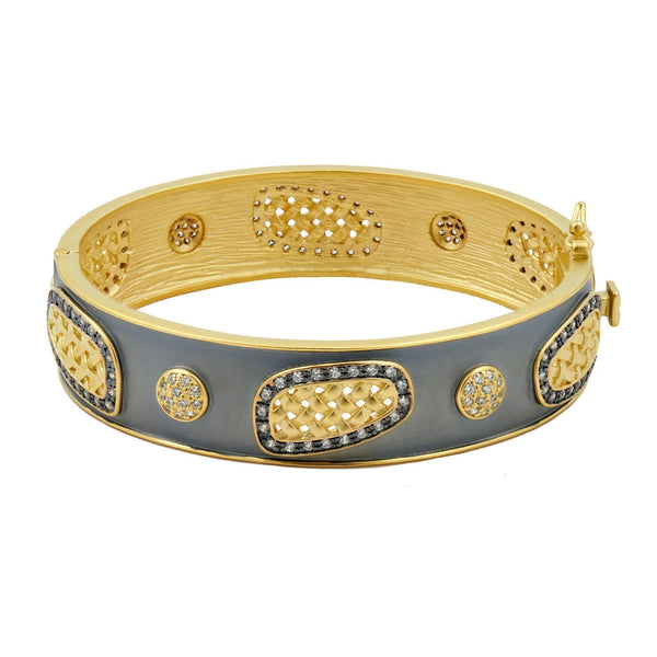 BRACELET - Lattice Motif Splice Hinge Cuff