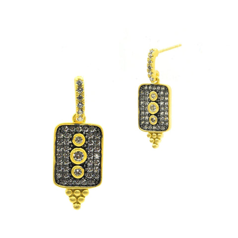 Contemporary Deco Pavé Drop Earrings - FREIDA ROTHMAN