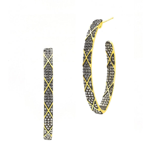 Signature Pointed Oval Pav̩ Stripe Hoop Earrings - FREIDA ROTHMAN