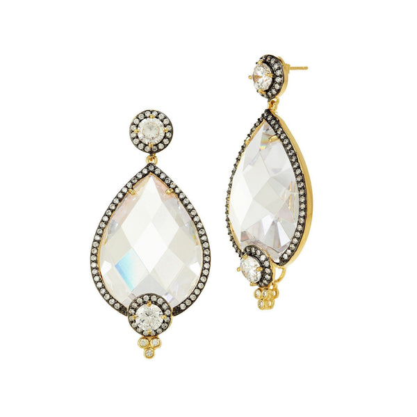 EARRING - Gala Pave Framed Facet Teardrop Earrings