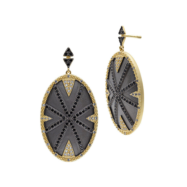EARRING - Geo Blackstone Stripe Sheild Drop Earrings
