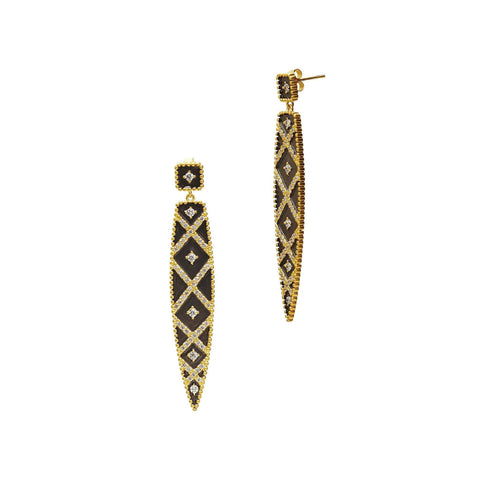 Geometric Stripe Spear Drop Earrings - FREIDA ROTHMAN