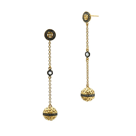 Lattice Motif Axis Drop Earrings - FREIDA ROTHMAN