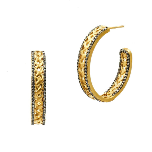 EARRING - Lattice Motif Crescent Splice Hoop Earrings