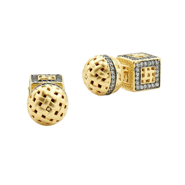 EARRING - Lattice Motif Double Sided Back Stud
