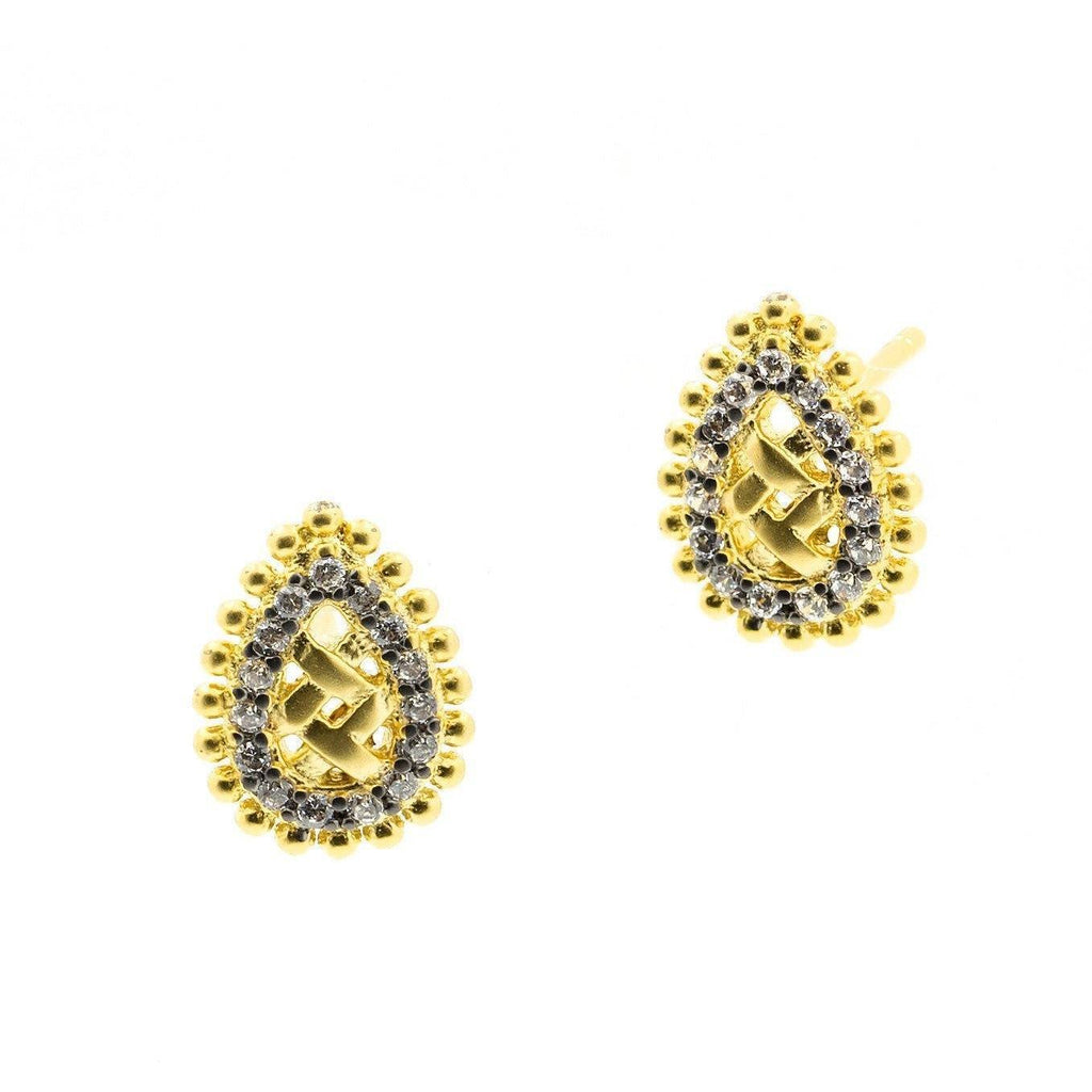 EARRING - Lattice Motif Droplet Stud Earring