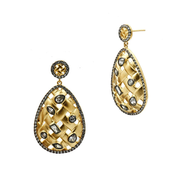 EARRING - Lattice Motif Teardrop Trellis Drop Earrings
