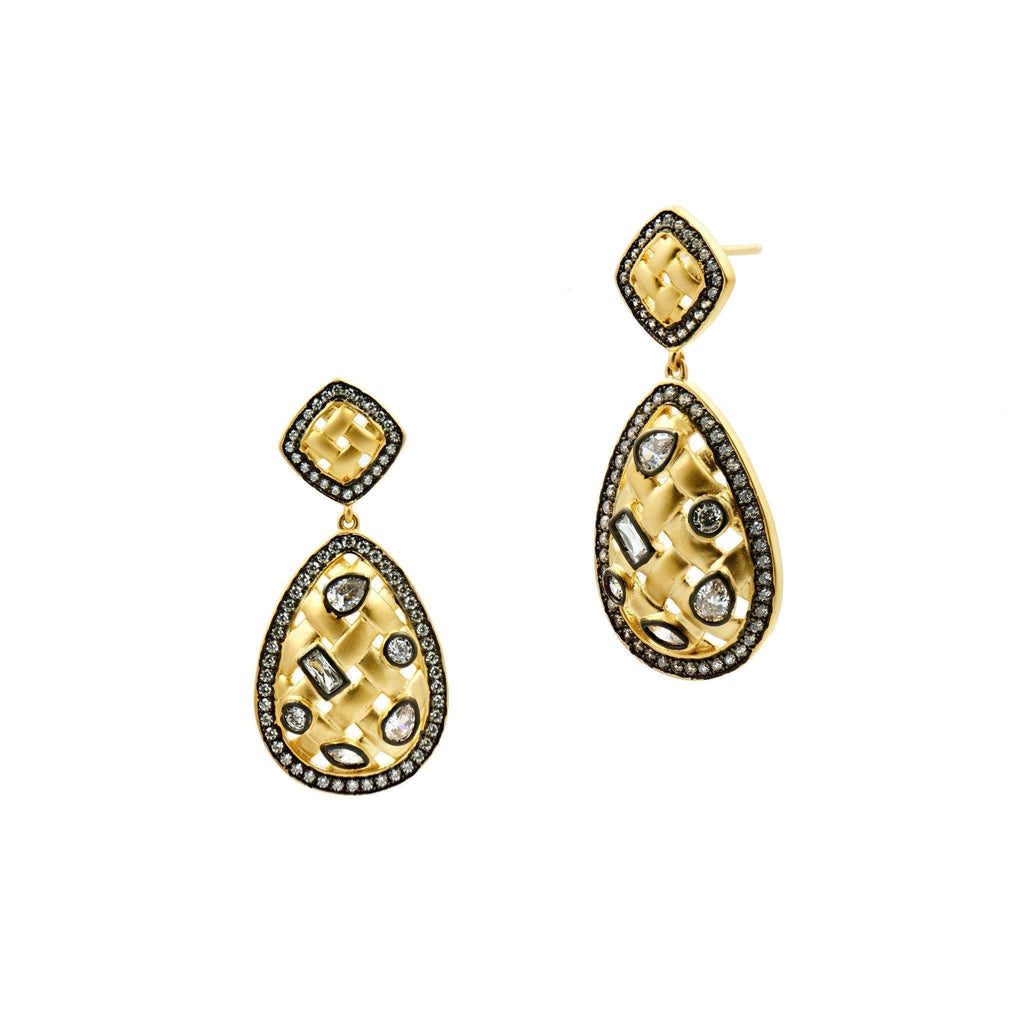 EARRING - Lattice Motif Teardrop Trellis Small Drop Earrings