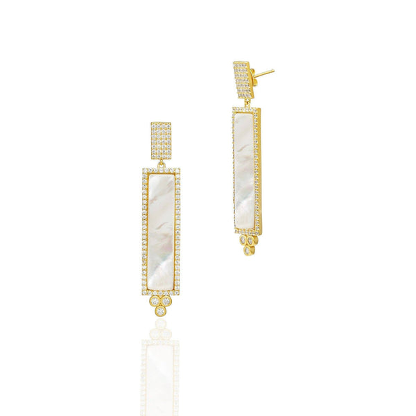 Color Theory Pavé Bar Drop Earrings in 14K Gold