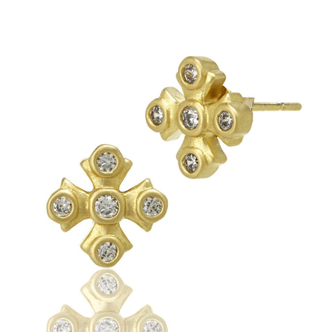 Maltese Stud Earrings - FREIDA ROTHMAN
