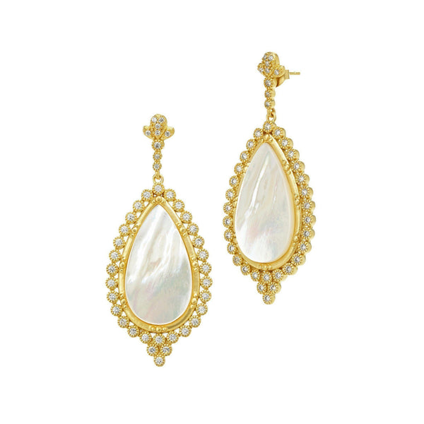 EARRING - Mother Of Pearl Framed Teardrops Earrings