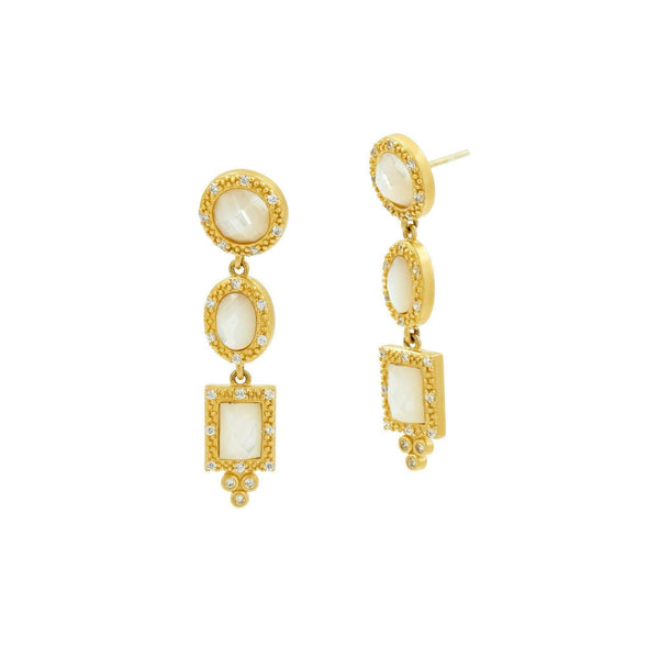 EARRING - Mother Of Pearl Harlequin Triple Drop Earrings