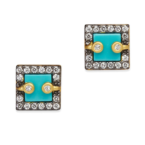 Square Pavé Framed Stud Earrings - FREIDA ROTHMAN
