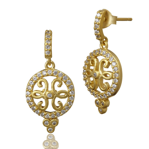 Open Filigree Disc Small Drop Earrings - FREIDA ROTHMAN