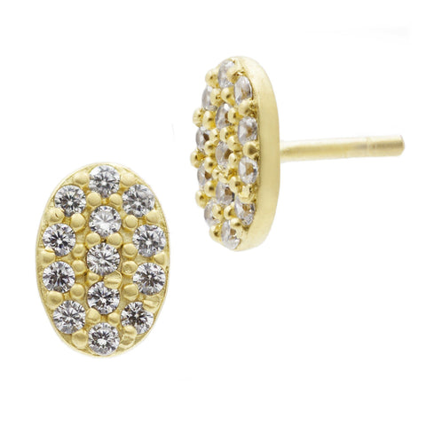 Mini Oval Pav̩ Stud Earrings - FREIDA ROTHMAN