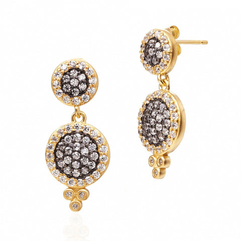 Pavé Double Disc Drop Earrings - FREIDA ROTHMAN