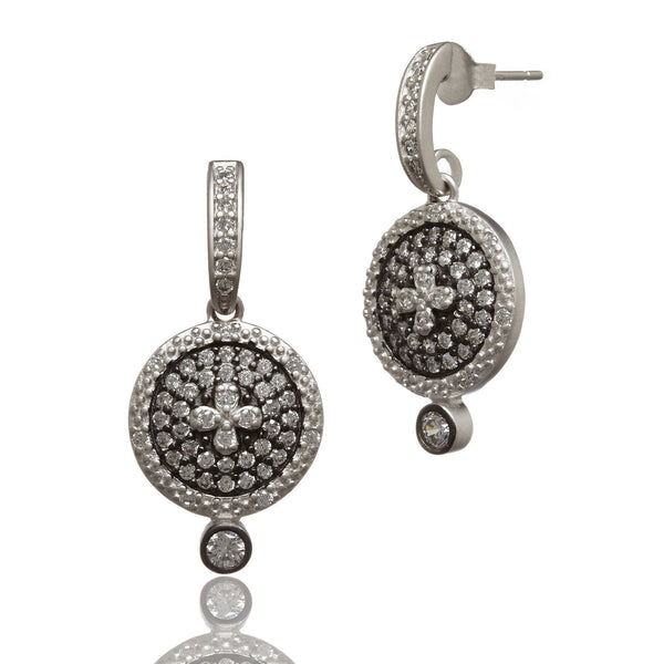 Small Clover Pav̩ Disc Drop Earring - FREIDA ROTHMAN