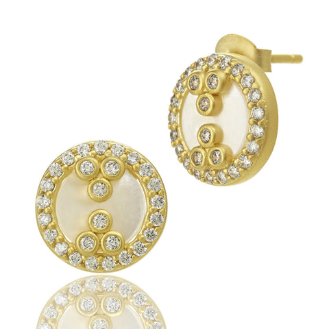 Mother of Pearl Flat Slice Stud Earrings - FREIDA ROTHMAN