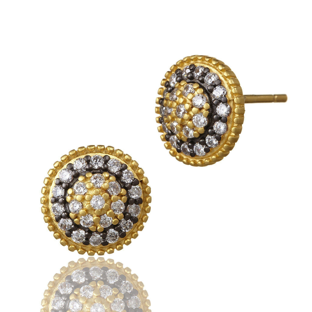 EARRING - Small Round Pave Deco Stud Earrings