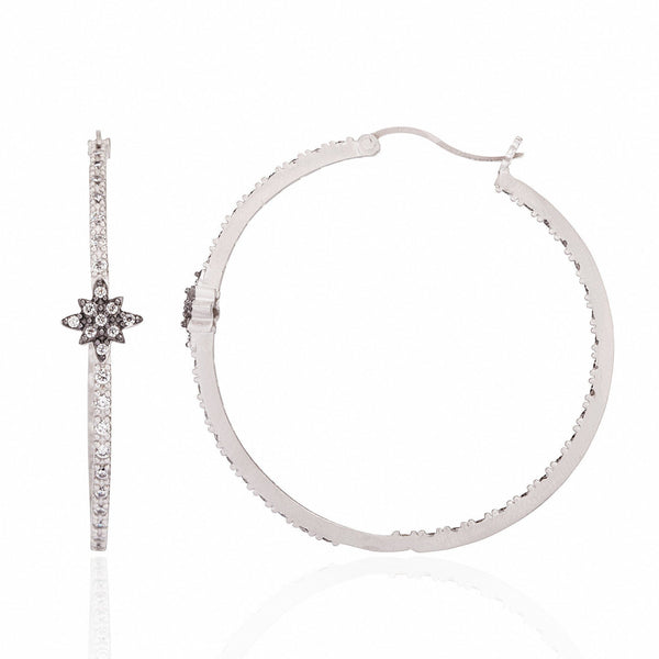 EARRING - Tiny Star Thin Pavé Hoop Earrings