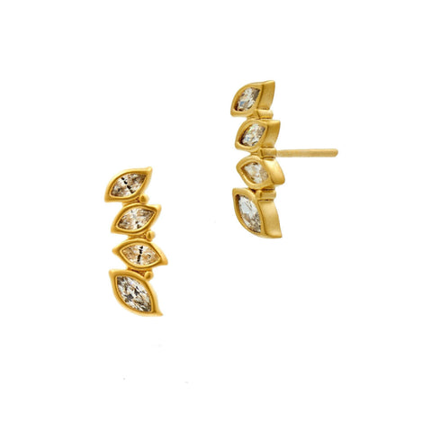 Fleur Bloom Leaflet Stud Earrings - FREIDA ROTHMAN