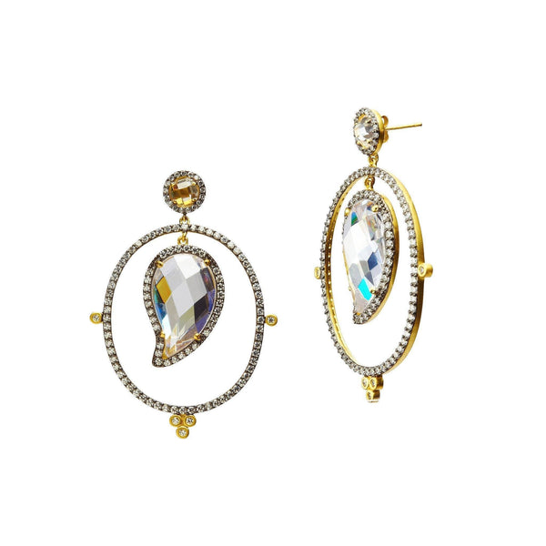 Earrings - Paisley Stone Framed Drop Earrings