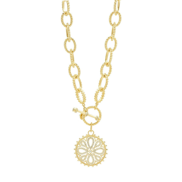NECKLACE - Heavy Link Love Knot Medallion Necklace