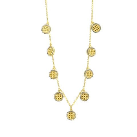 Lattice Motif Charm Choker Necklace - FREIDA ROTHMAN