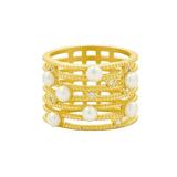 Cultured Freshwater Pearl Textured Cage Ring