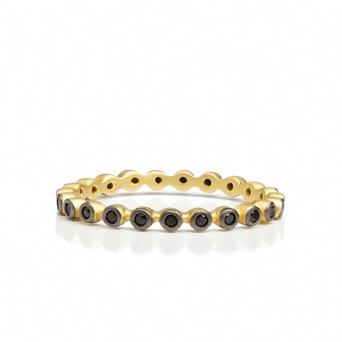 Black Stone Beaded Ring - FREIDA ROTHMAN