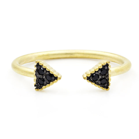 Black Pavé Arrow Cuff Ring - FREIDA ROTHMAN
