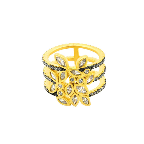 Fleur Bloom Leaflet Triple Ring - FREIDA ROTHMAN
