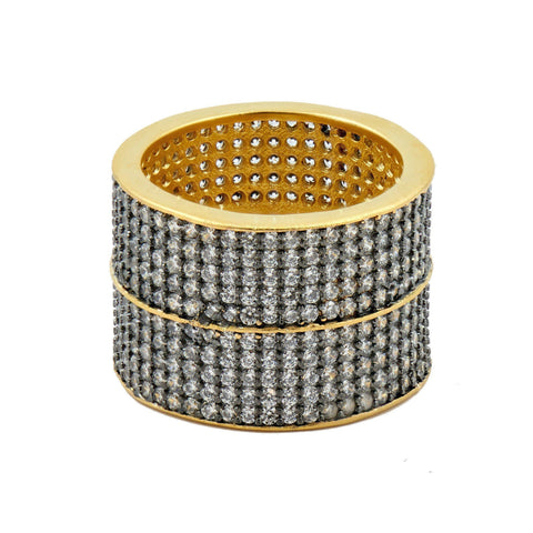 RING - Lattice Motif Pavé Axis Cigar Band