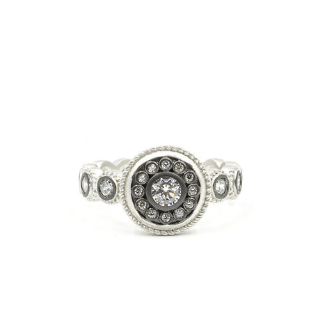 Nautical Button Stone Band Ring - FREIDA ROTHMAN