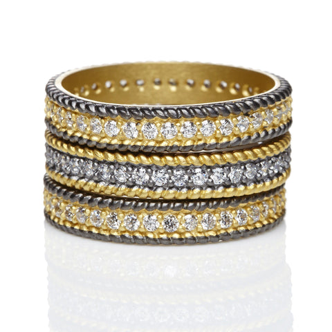 Pav̩ Mixed Eternity Ring Set - FREIDA ROTHMAN
