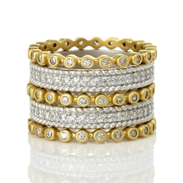 Signatature Two Tone Pav̩ 5-Stack Ring - FREIDA ROTHMAN