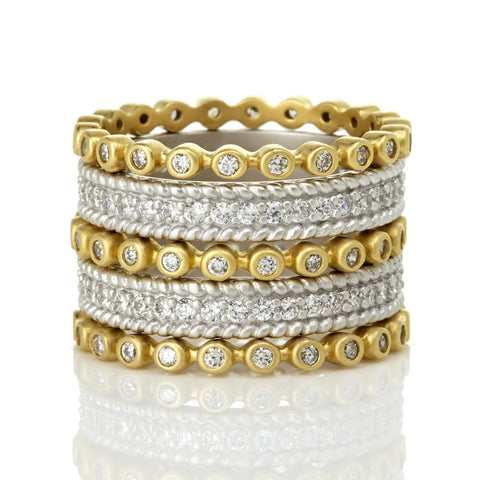 Signatature Two Tone Pavé 5-Stack Ring - FREIDA ROTHMAN