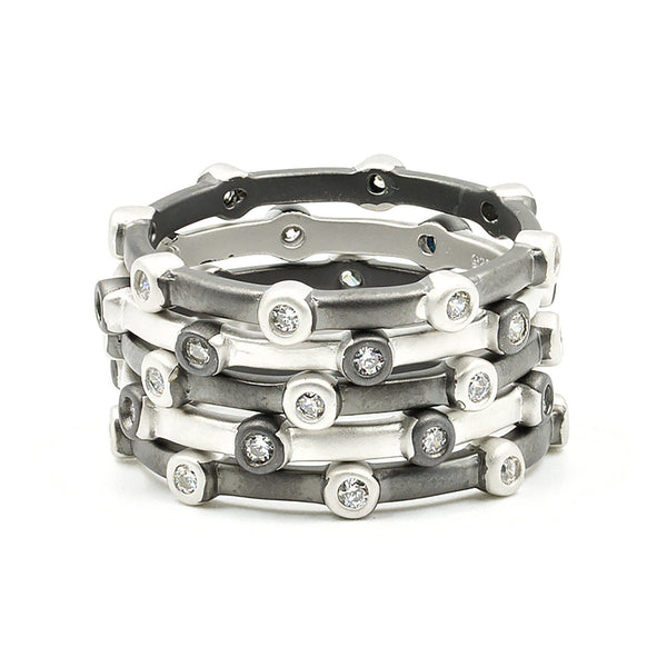 Thin Bezel Alternating Ring Set - FREIDA ROTHMAN