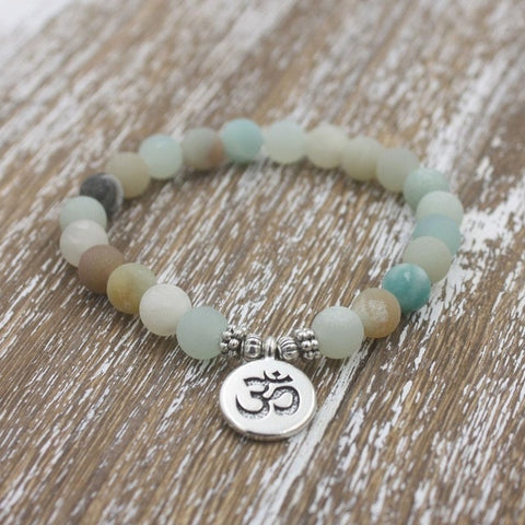 Matte Frosted Beaded OM Charm Bracelet - Silver