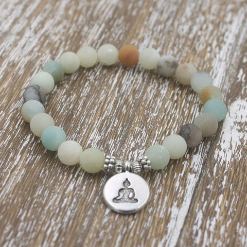 Matte Frosted Beaded Buddha Charm Bracelet - Silver