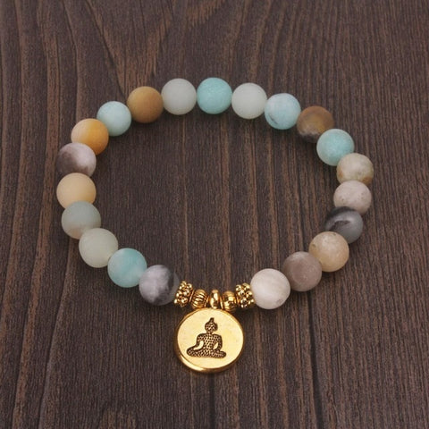 Matte Frosted Beaded Buddha Charm Bracelet - Gold