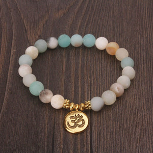 Matte Frosted Beaded OM Charm Bracelet - Gold