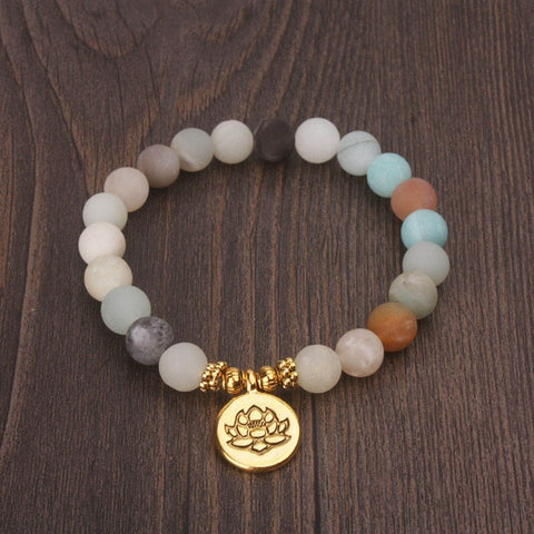 Matte Frosted Beaded Lotus Charm Bracelet - Gold