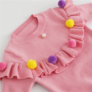 Ruffled Pom Pom Sweater