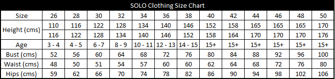 SOLO Clothing Size Chart