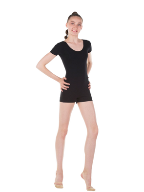SOLO Black Short Sleeved Training Leotard with shorts (polyamide)
