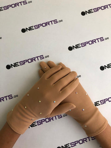 Thermal Nude Gloves with rhinestones - OneSports.ae