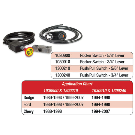 Rocker Switch Kit, Exhaust Brake - 3/4 Manual Lever