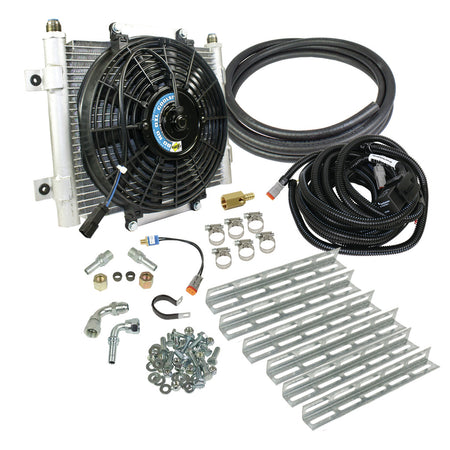 Xtrude Transmission Cooler with Fan - Complete Kit 1/2in Lines